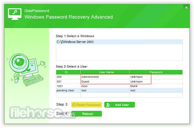 iSeePassword Windows Password Recovery 2.6.2.2 Captura de Pantalla 4