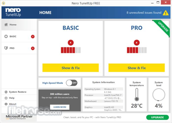 Nero TuneItUp Free 2.5.0.55 Screenshot 1