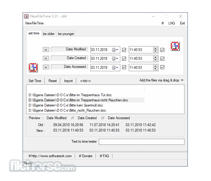NewFileTime 5.55 (32-bit) Screenshot 1
