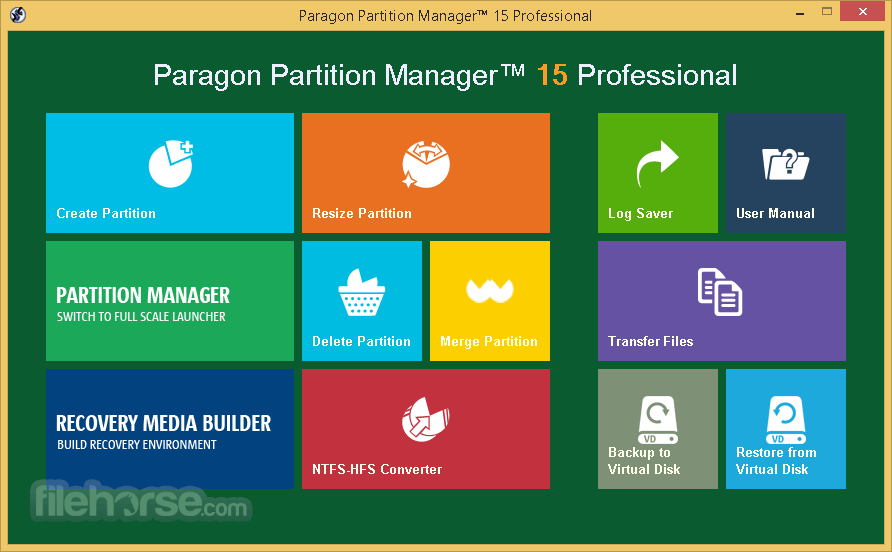 Paragon Partition Manager Professional 15 (32-bit) Captura de Pantalla 1