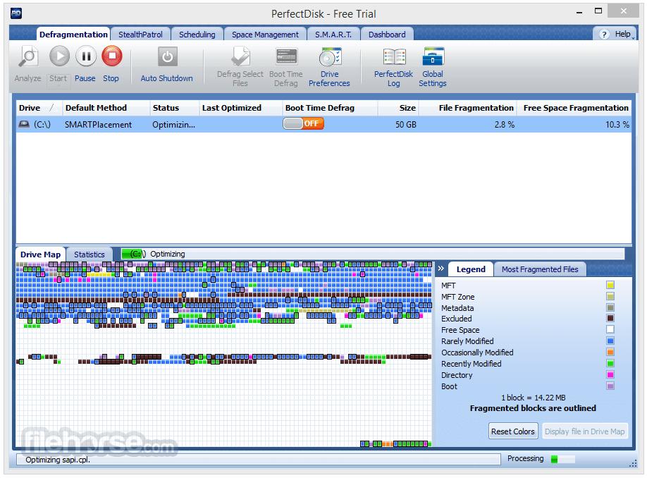 PerfectDisk Pro 14.0 Build 891 Captura de Pantalla 1