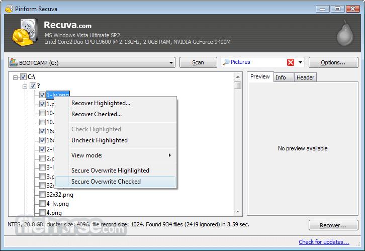 Recuva 1.53.1087 Screenshot 3