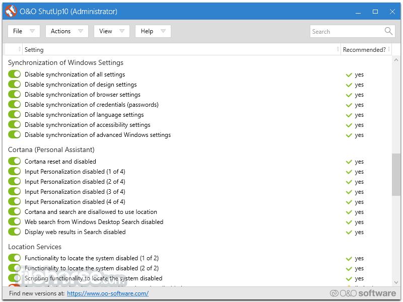 O&O ShutUp10 1.0.1359 Portable (2016) PC