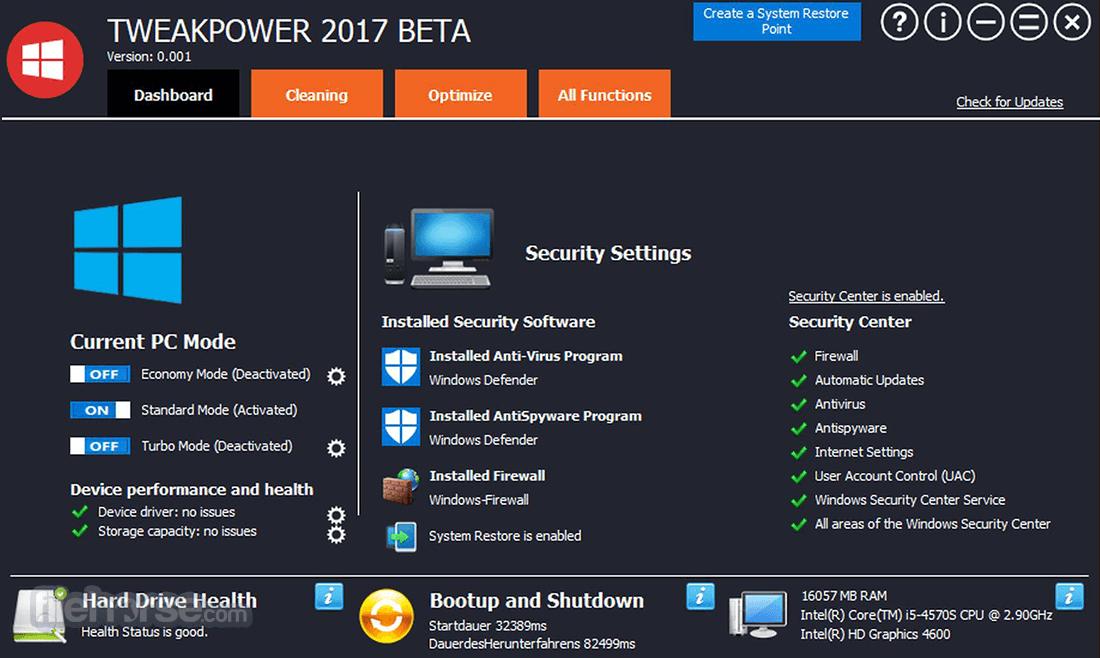 TweakPower 0.044 Beta Captura de Pantalla 1
