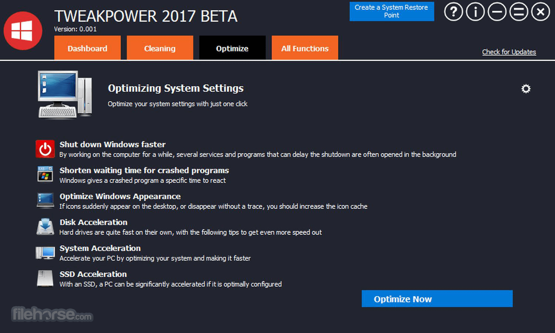 TweakPower 0.044 Beta Screenshot 3