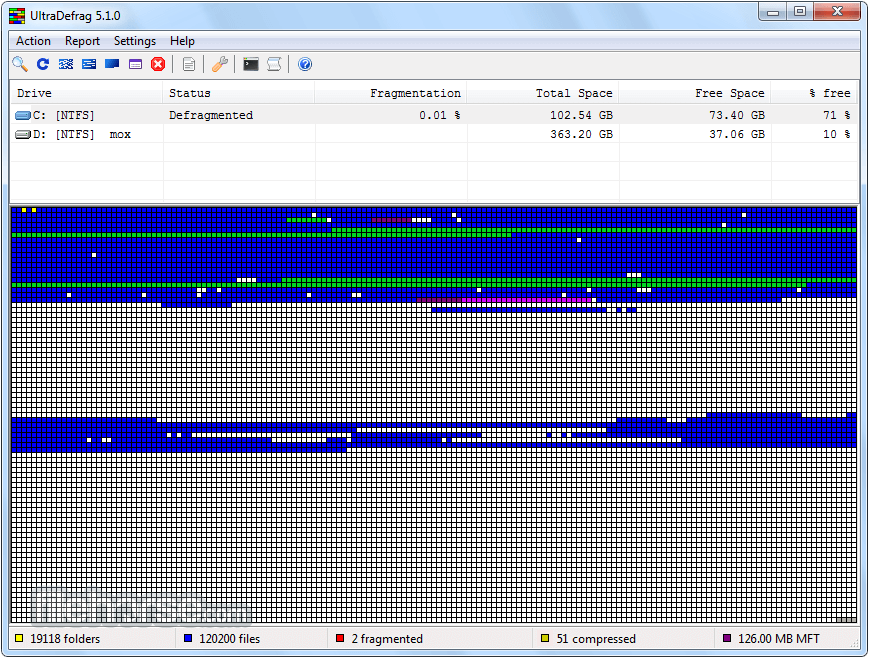 UltraDefrag 7.0.2 (64-bit) Screenshot 2