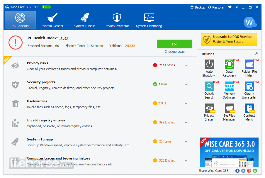 Wise Care 365 Free 4.11 Screenshot 2