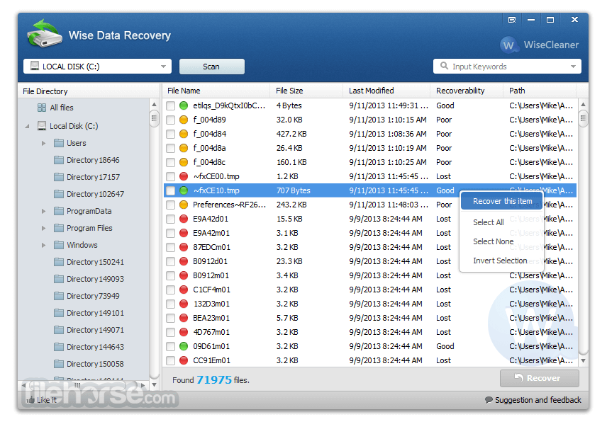 Wise Data Recovery 4.02 Captura de Pantalla 1