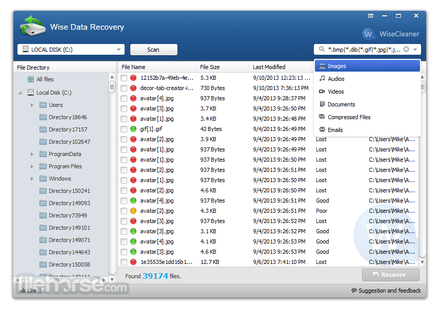 Wise Data Recovery 4.02 Captura de Pantalla 2