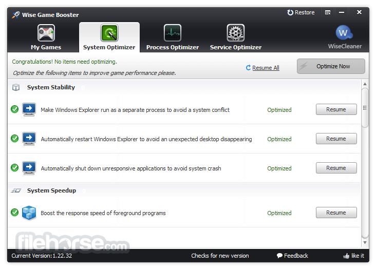 Wise Game Booster 1.39 Screenshot 2
