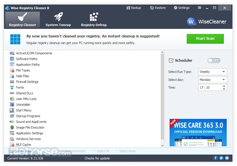 Wise Registry Cleaner 9.64 Screenshot 1