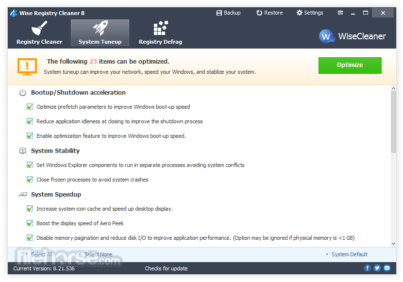 Wise Registry Cleaner 9.63 Captura de Pantalla 2