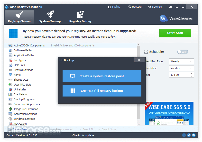 Wise Registry Cleaner 9.63 Captura de Pantalla 4