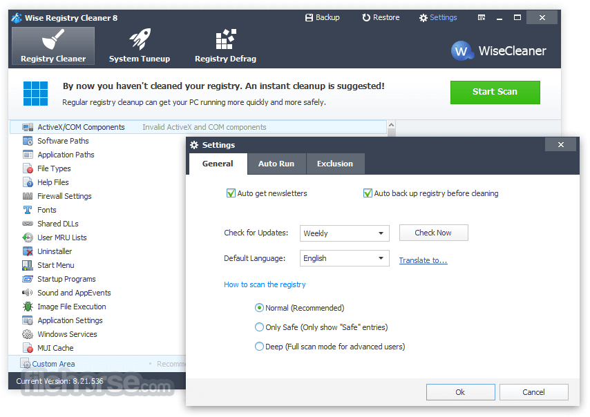 Wise Registry Cleaner 9.63 Captura de Pantalla 5