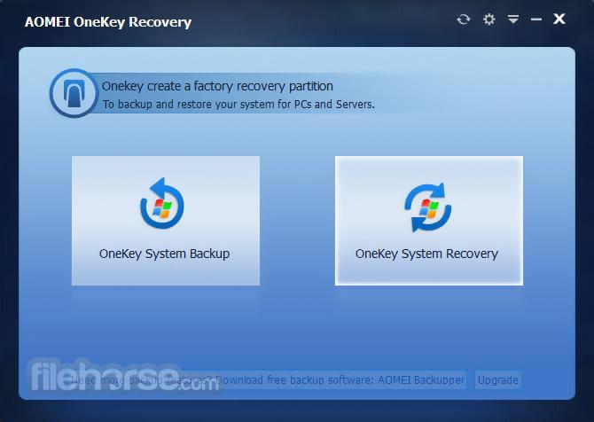 AOMEI OneKey Recovery 1.6.2 Screenshot 1
