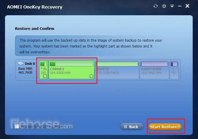 AOMEI OneKey Recovery 1.6.2 Screenshot 5
