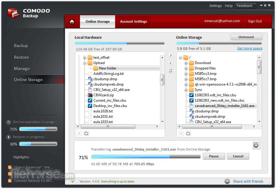 Comodo Backup 4.4.1.23 Captura de Pantalla 1