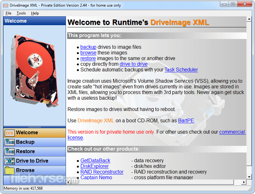 DriveImage XML 2.60 Screenshot 1