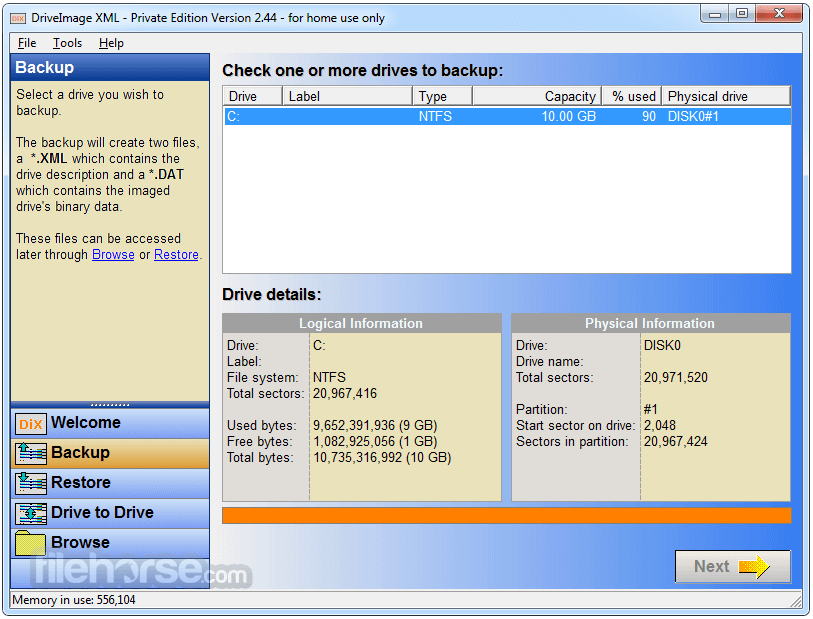 DriveImage XML 2.60 Screenshot 2