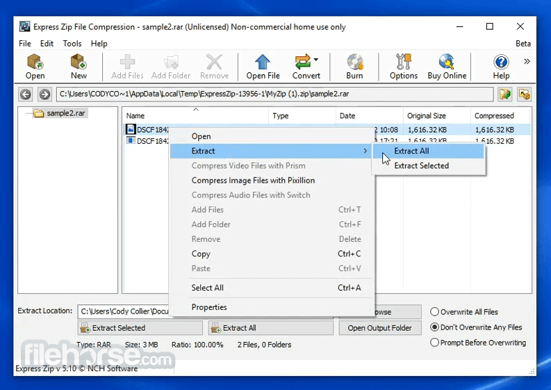 Express Zip File Compression Software 7.23 Screenshot 4