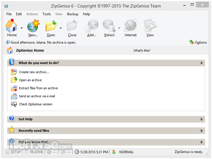 ZipGenius 6.3.2.3116 Captura de Pantalla 1