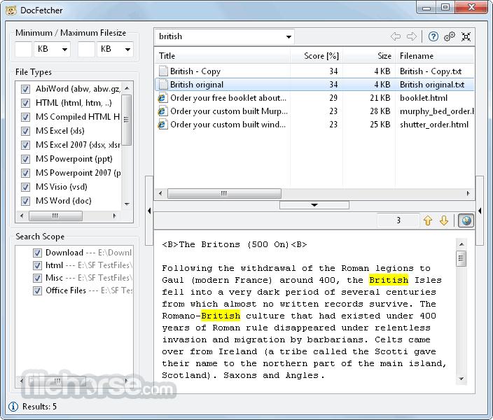 DocFetcher 1.1.19 Screenshot 1