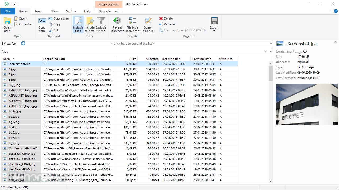 UltraSearch 2.1.2.380 (32-bit) Captura de Pantalla 1