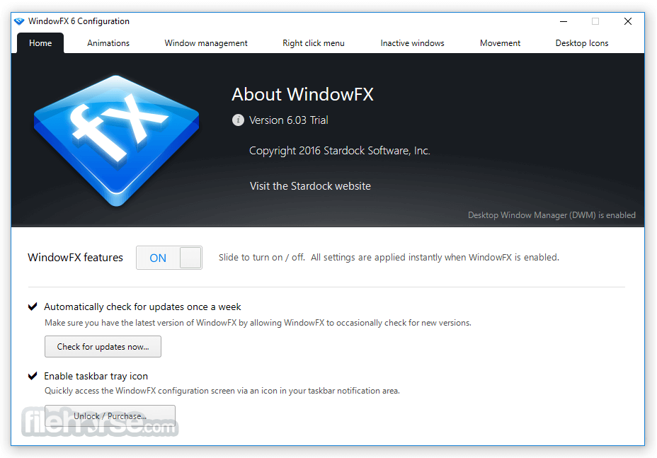 WindowFX 6.03 Screenshot 1