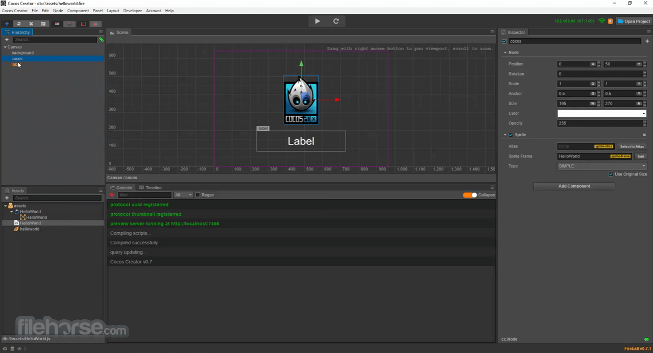 Cocos Creator 1.10.0 Screenshot 1