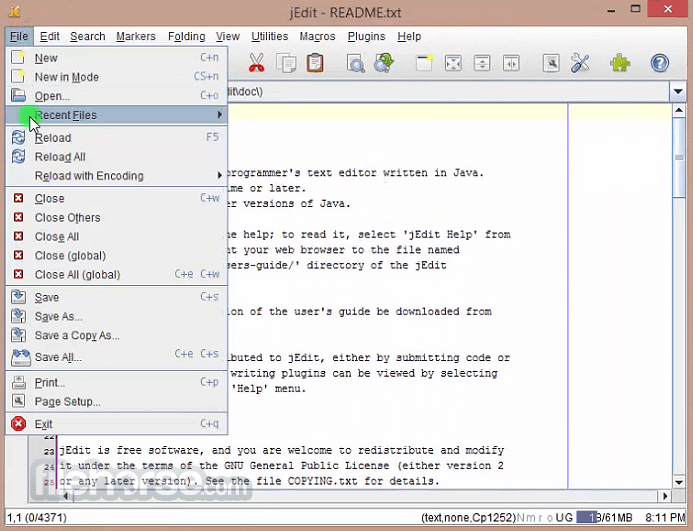 jEdit 5.4.0 Screenshot 1