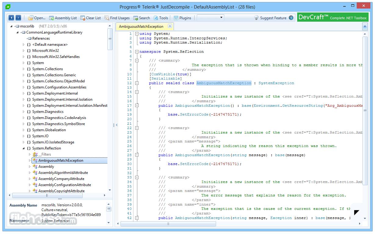JustDecompile 2018.1.327.2 Screenshot 1