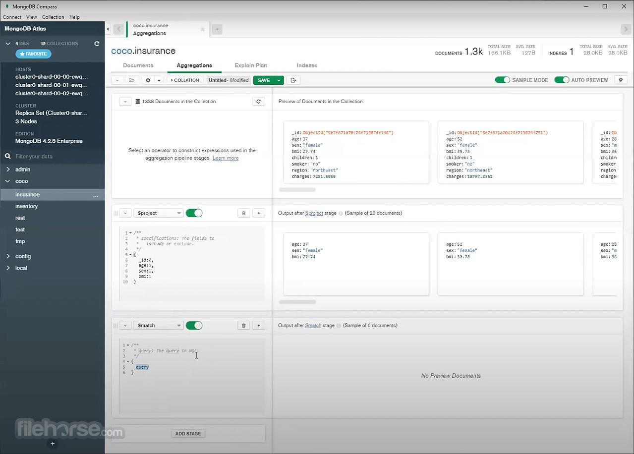 MongoDB Compass 1.26.1 Captura de Pantalla 1