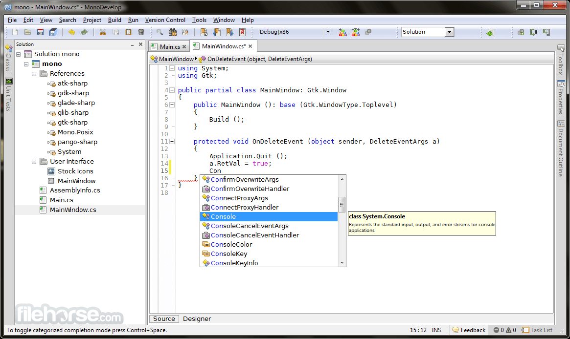 MonoDevelop 8.4.3.12 Screenshot 1