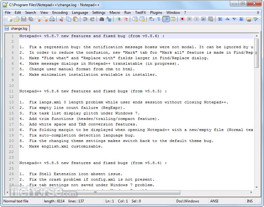 Notepad++ 7.5.8 (64-bit) Captura de Pantalla 1