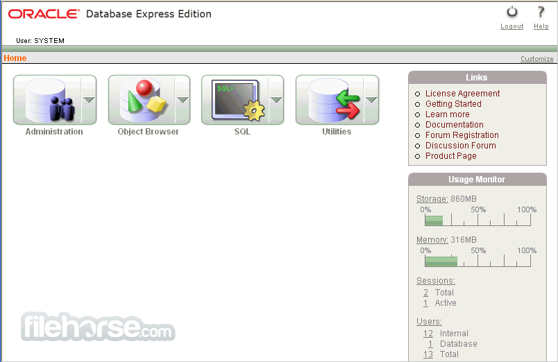 Oracle Database Express Edition 11g Release 2 (64-bit) Captura de Pantalla 1