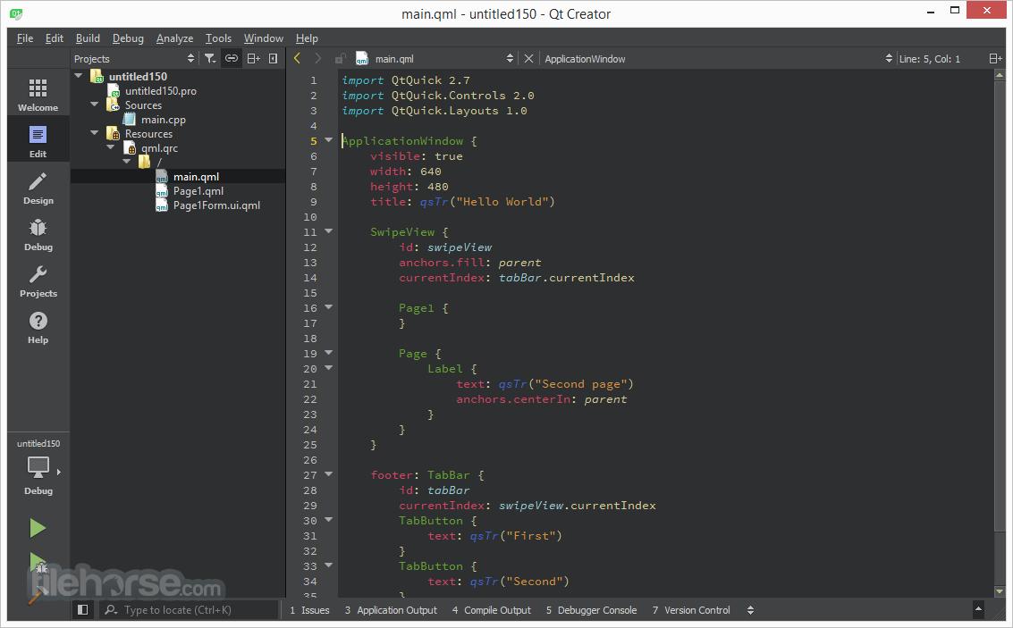 Qt Creator 4.5.0 (32-bit) Screenshot 2
