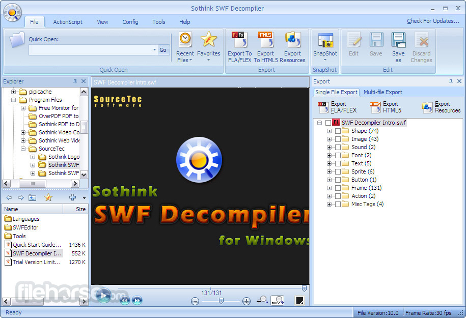 Sothink SWF Decompiler 7.4 Build 5320 Screenshot 1