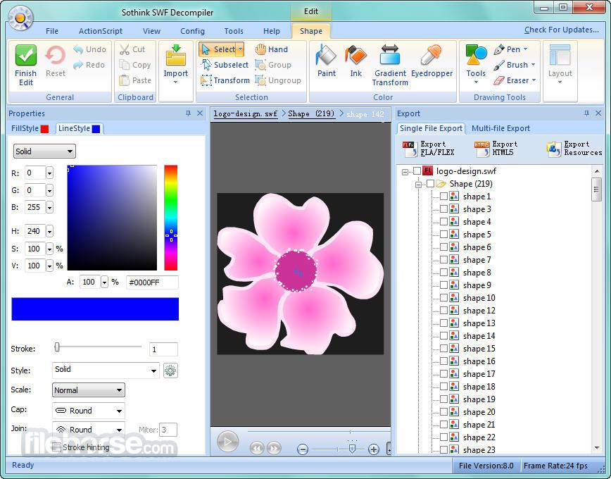 Sothink SWF Decompiler 7.4 Build 5320 Screenshot 2