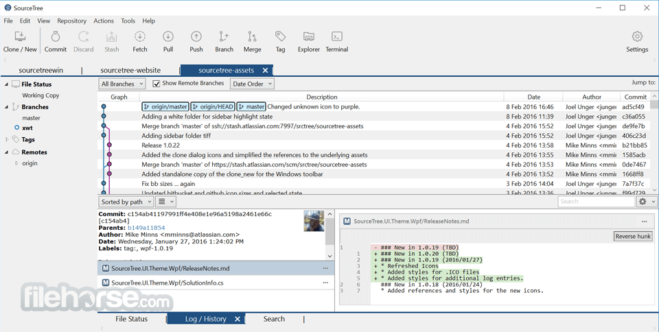 SourceTree 2.4.7.0 Captura de Pantalla 1