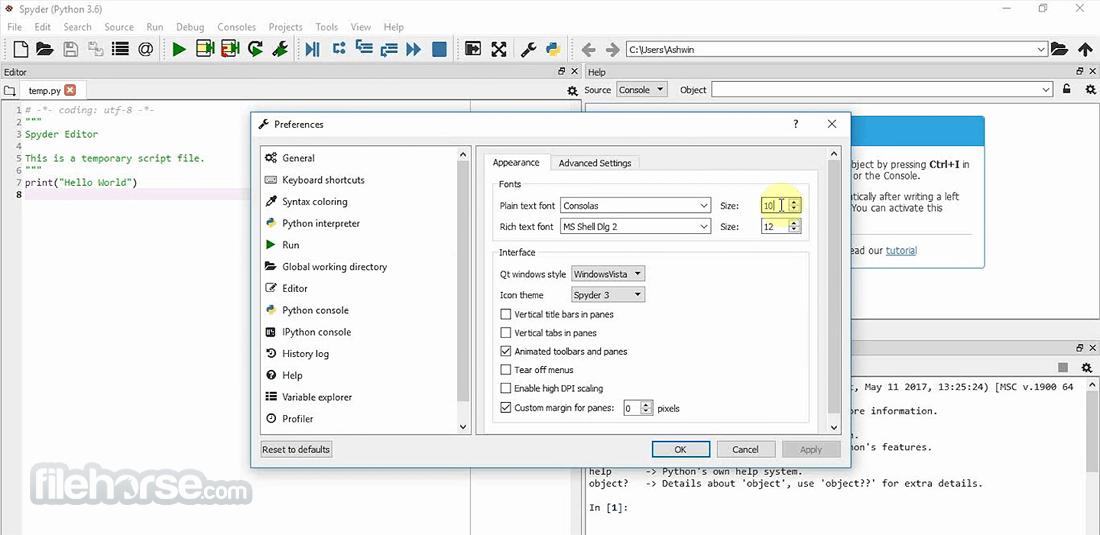 Spyder Python 2.3.8 (32-bit) Screenshot 3