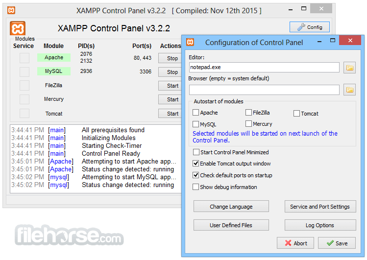 XAMPP 7.2.2 Screenshot 2