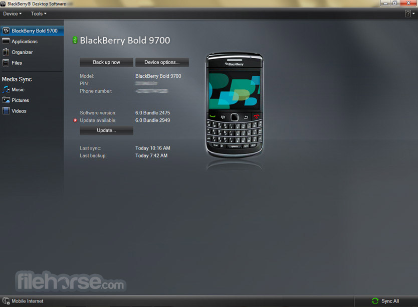BlackBerry Desktop Software 7.1.0.41 Bundle 42 Screenshot 1