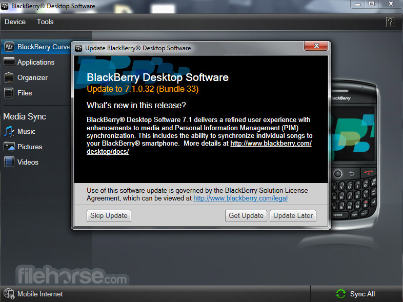 BlackBerry Desktop Software 7.1.0.41 Bundle 42 Screenshot 2