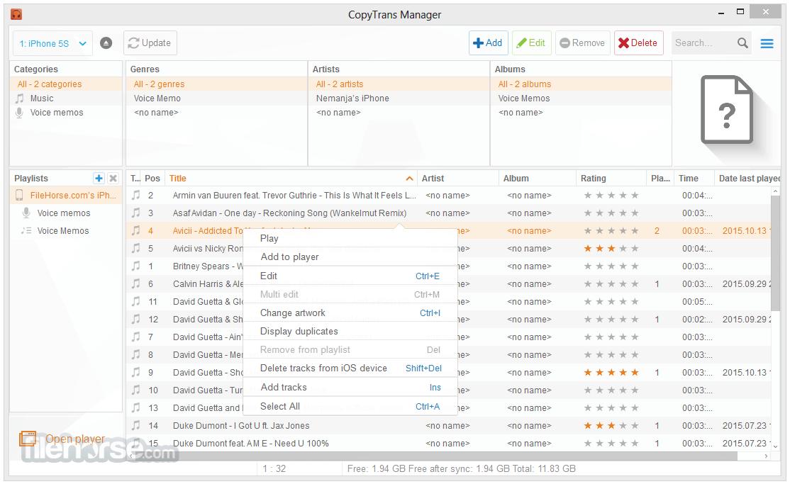 CopyTrans Manager 1.118 Screenshot 2