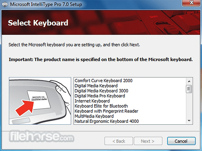Microsoft intellitype pro keyboard software