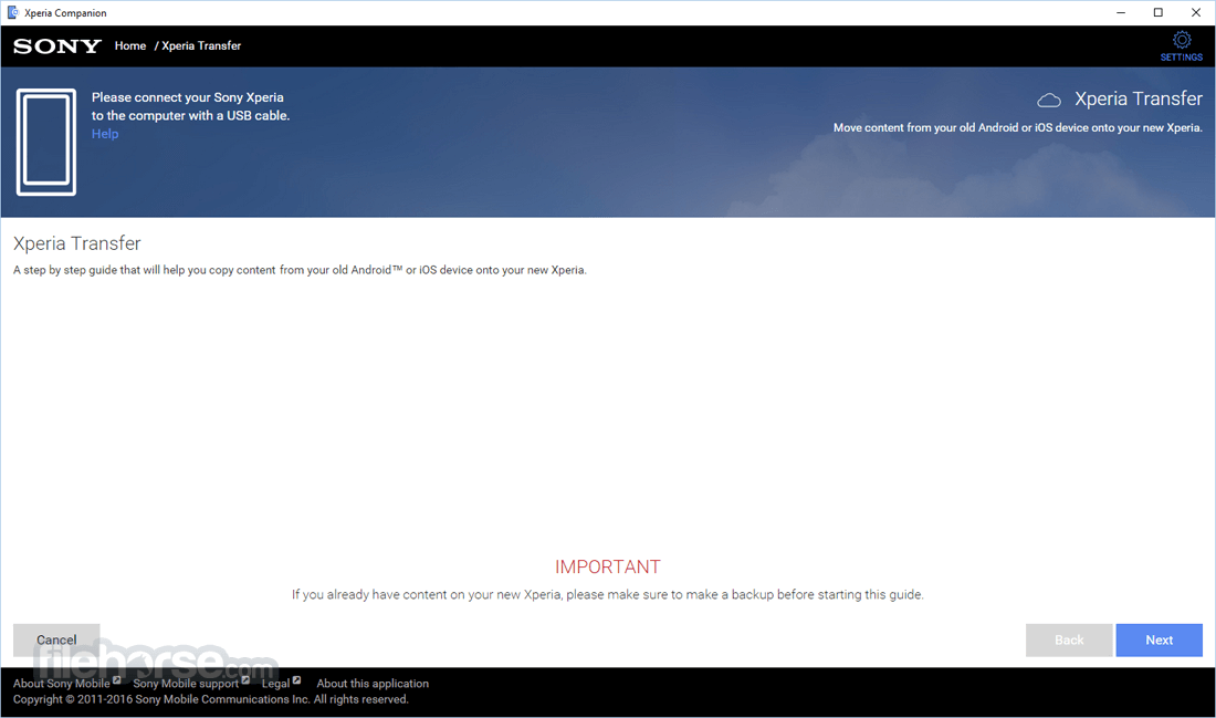 Xperia Companion 2.1.12.0 Screenshot 2