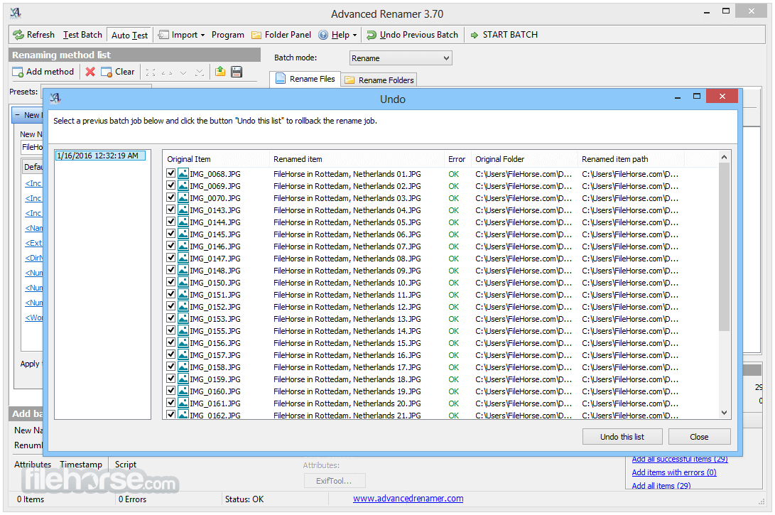 Advanced Renamer 3.82 Screenshot 4