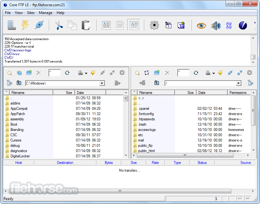 Core FTP LE 2.2 Build 1922 (32-bit) Screenshot 1