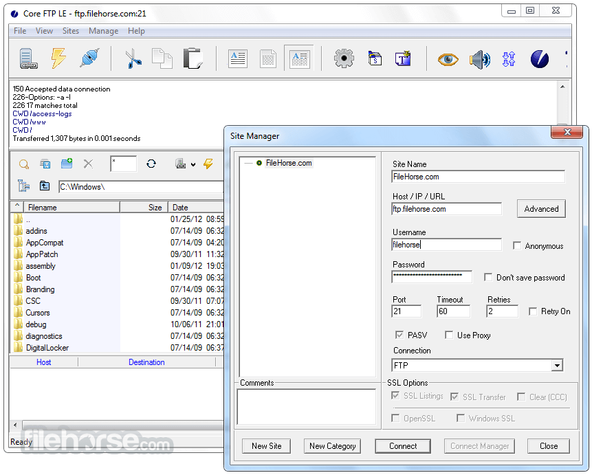 Core FTP LE 2.2 Build 1922 (32-bit) Screenshot 2