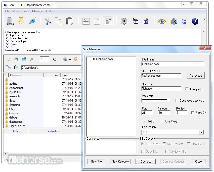 Core FTP LE 2.2 Build 1910 (32-bit) Screenshot 2